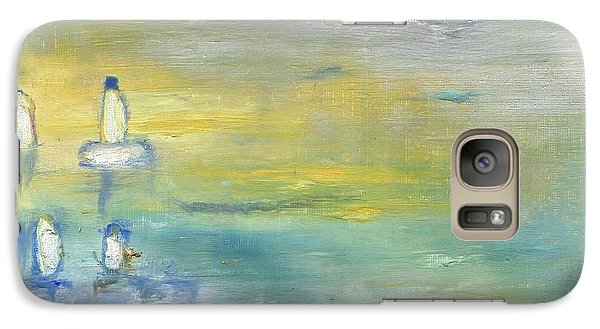 Galaxy Case featuring the painting Indian Summer Over The Pond by Michal Mitak Mahgerefteh