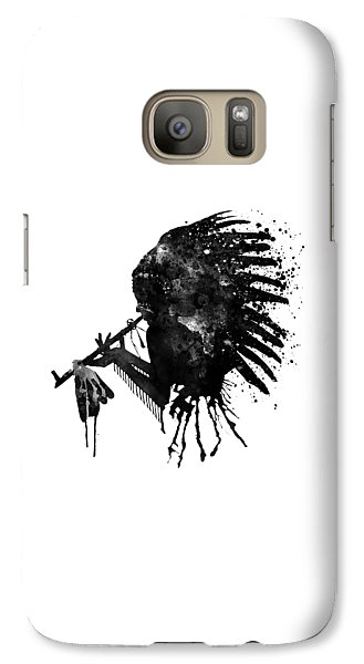 Galaxy Case featuring the mixed media Indian With Headdress Black And White Silhouette by Marian Voicu