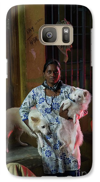 Galaxy Case featuring the photograph Indian Woman And Her Dogs by Mike Reid