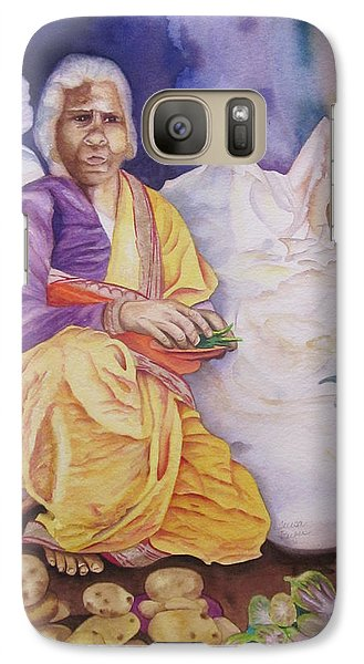 Galaxy Case featuring the painting Indian Woman At Market IIi by Teresa Beyer