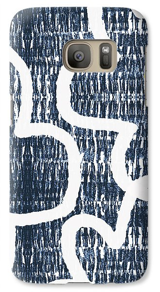 Galaxy Case featuring the mixed media Indigo And White Jumbo Flowers- Art By Linda Woods by Linda Woods