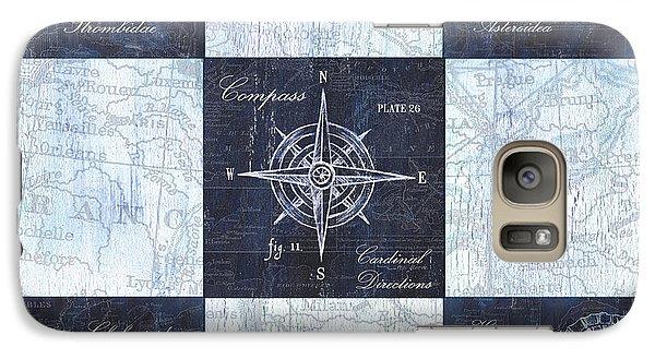 Indigo Nautical Collage Galaxy Case by Debbie DeWitt