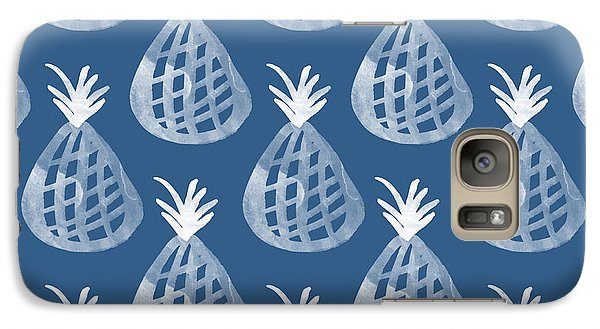Indigo Pineapple Party Galaxy Case by Linda Woods