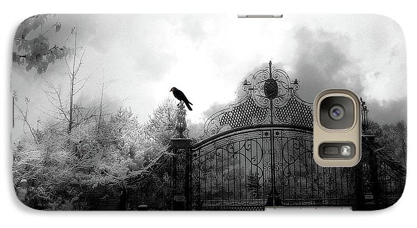 Galaxy Case featuring the photograph Infrared Gothic Raven On Gate Black And White Infrared Print - Solitude - Gothic Raven Infrared Art  by Kathy Fornal