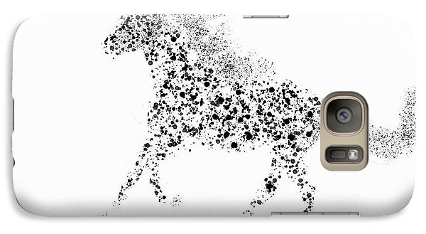 Galaxy Case featuring the drawing Ink Splattered Stallion by Nick Gustafson