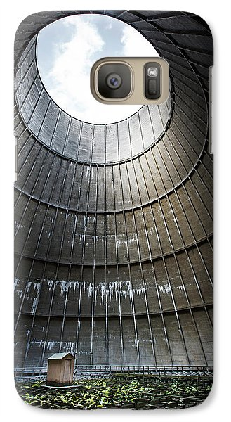 Galaxy Case featuring the photograph Inside Industrial Cooling Tower Stands A Mysterous Little House by Dirk Ercken