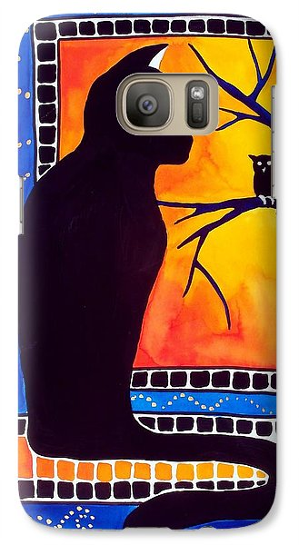 Galaxy Case featuring the painting Insomnia - Cat And Owl Art By Dora Hathazi Mendes by Dora Hathazi Mendes