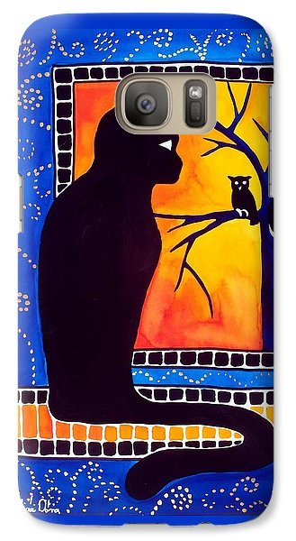 Insomnia - Cat And Owl Art By Dora Hathazi Mendes Galaxy S7 Case by Dora Hathazi Mendes