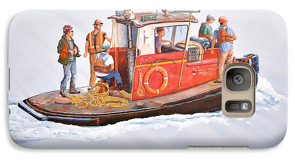 Galaxy Case featuring the painting Into The Mist-the Crew Boat by Gary Giacomelli