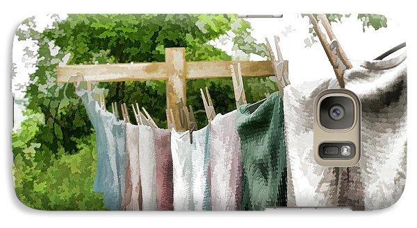 Galaxy Case featuring the photograph Iowa Farm Laundry Day  by Wilma Birdwell