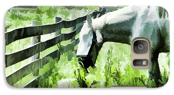 Galaxy Case featuring the digital art Iowa Farm Pasture And White Horse by Wilma Birdwell