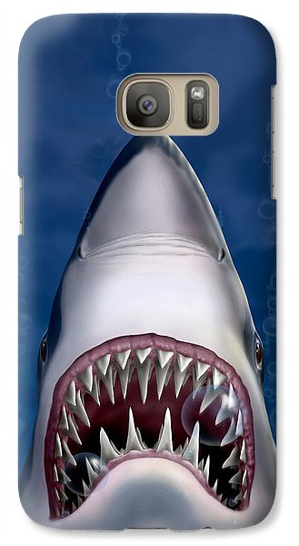 iPhone - Galaxy Case - Jaws Great White Shark Art Galaxy Case by Walt Curlee