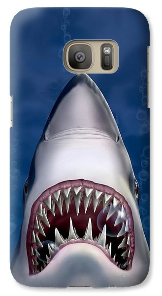 iPhone - Galaxy Case - Jaws Great White Shark Art Galaxy S7 Case by Walt Curlee