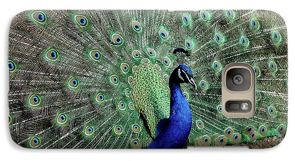 Galaxy Case featuring the photograph Iridescent Blue-green Peacock by LeeAnn McLaneGoetz McLaneGoetzStudioLLCcom