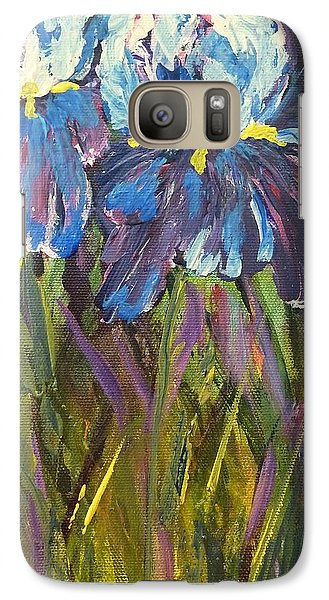 Galaxy S7 Case featuring the painting Iris Floral Garden by Claire Bull