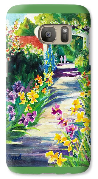 Galaxy Case featuring the painting Iris Garden Walkway   by Kathy Braud