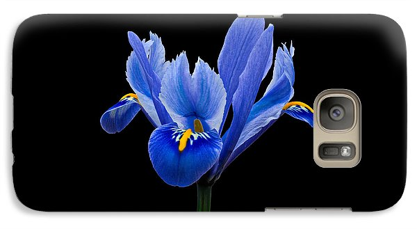 Galaxy Case featuring the photograph Iris Reticulata, Black Background by Paul Gulliver