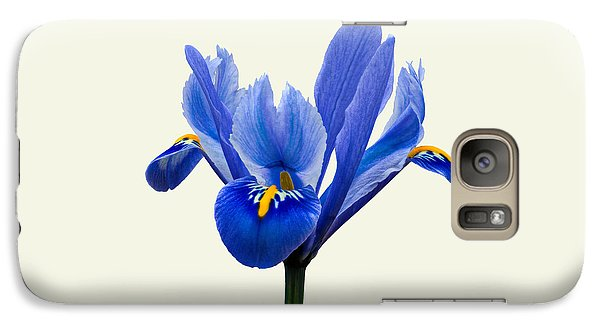 Galaxy Case featuring the photograph Iris Reticulata, Cream Background by Paul Gulliver