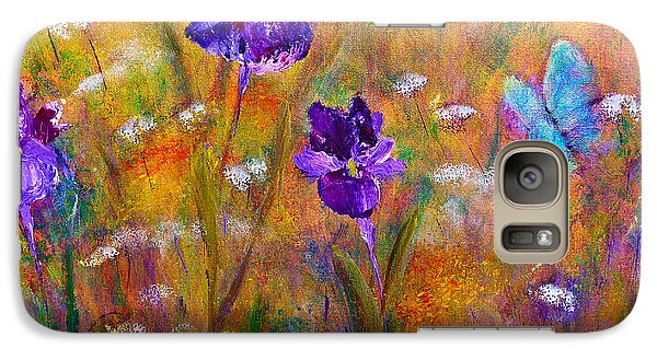 Galaxy S7 Case featuring the painting Iris Wildflowers And Butterfly by Claire Bull