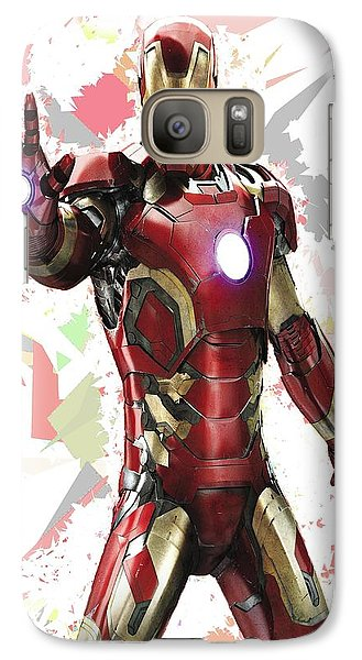Galaxy Case featuring the mixed media Iron Man Splash Super Hero Series by Movie Poster Prints