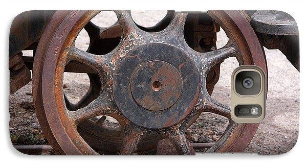 Galaxy Case featuring the photograph Iron Train Wheel by Aidan Moran