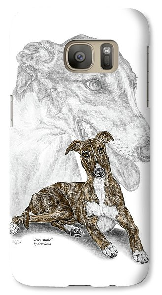 Galaxy Case featuring the drawing Irresistible - Greyhound Dog Print Color Tinted by Kelli Swan