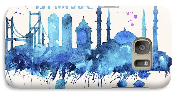 Istanbul Skyline Watercolor Poster - Cityscape Painting Artwork Galaxy S7 Case