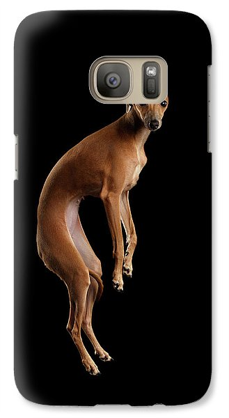 Italian Greyhound Dog Jumping, Hangs In Air, Looking Camera Isolated Galaxy S7 Case