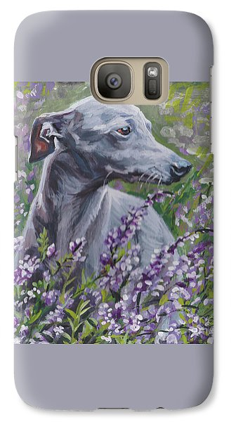Galaxy Case featuring the painting  Italian Greyhound In Flowers by Lee Ann Shepard