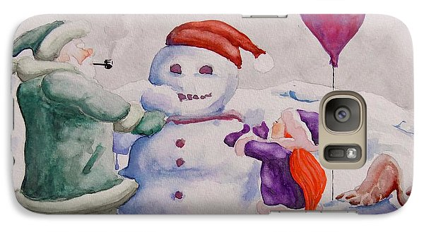 Galaxy Case featuring the painting It's Cold Grandpa by Geni Gorani