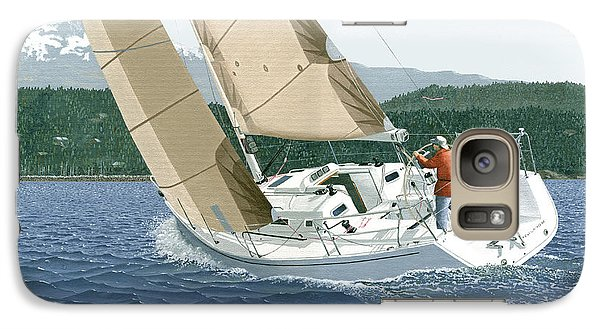Galaxy Case featuring the painting J-109 Sailboat Off Comox B.c. by Gary Giacomelli