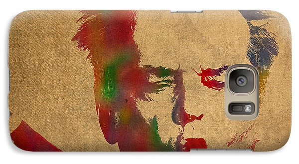 Jack Nicholson Smoking A Cigar Blowing Smoke Ring Watercolor Portrait On Old Canvas Galaxy S7 Case by Design Turnpike