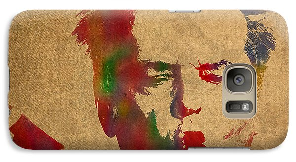 Jack Nicholson Smoking A Cigar Blowing Smoke Ring Watercolor Portrait On Old Canvas Galaxy Case by Design Turnpike