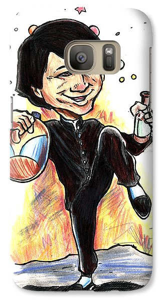 Galaxy Case featuring the drawing Jackie Chan Drunken Master by John Ashton Golden