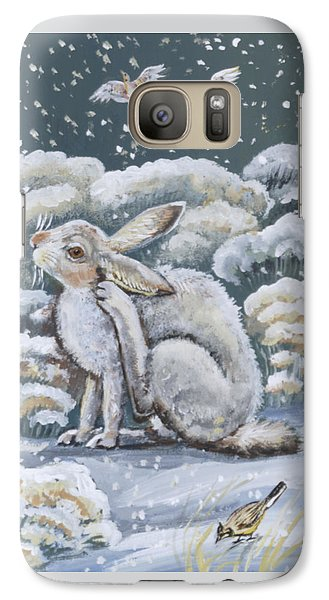 Galaxy Case featuring the painting Jackrabbit And Horned Larks by Dawn Senior-Trask