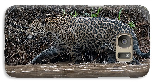 Galaxy Case featuring the photograph Jaguar In River by Wade Aiken