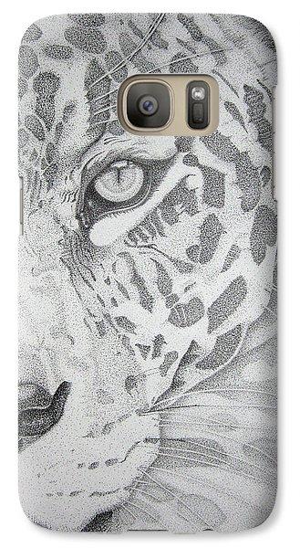 Galaxy Case featuring the drawing Jaguar Pointillism by Mayhem Mediums