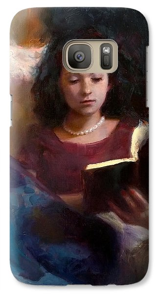 Galaxy Case featuring the painting Jaidyn Reading A Book 1 - Portrait Of Young Woman by Karen Whitworth