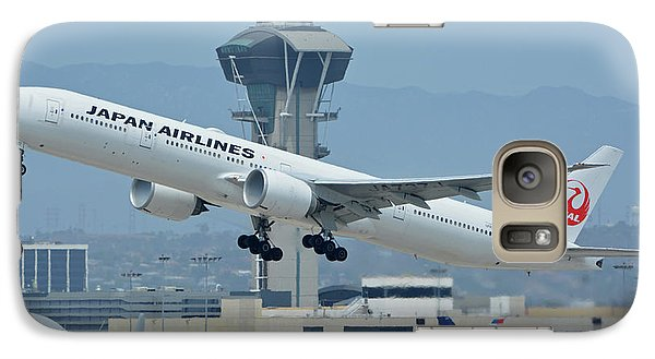 Galaxy Case featuring the photograph Japan Airlines Boeing 777-346er Ja737j Los Angeles International Airport May 3 2016 by Brian Lockett