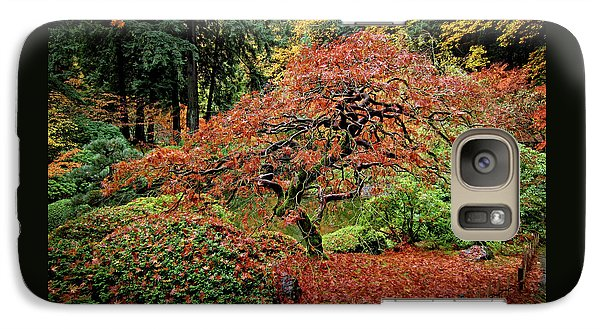 Galaxy Case featuring the photograph Japanese Maple At The Japanese Gardens Portland by Thom Zehrfeld