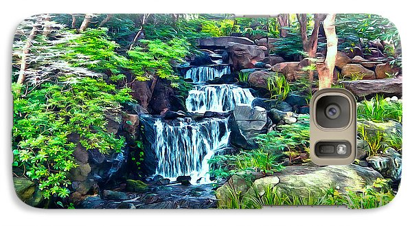 Galaxy Case featuring the photograph Japanese Waterfall Garden by Scott Carruthers