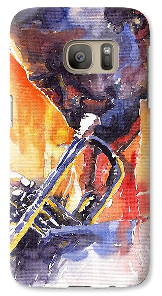Jazz Miles Davis 9 Red Galaxy S7 Case by Yuriy  Shevchuk