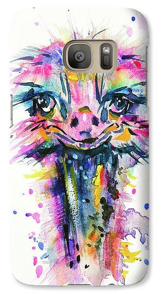 Galaxy Case featuring the painting Jazzzy Ostrich by Zaira Dzhaubaeva