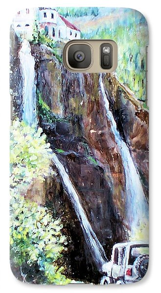 Galaxy Case featuring the painting Jeeping At Bridal Falls  by Linda Shackelford