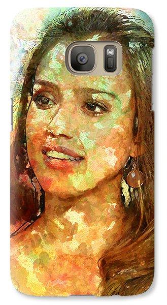 Jessica Alba Galaxy S7 Case by Elena Kosvincheva