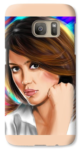 Jessica Alba Galaxy S7 Case by Isaac Martinez