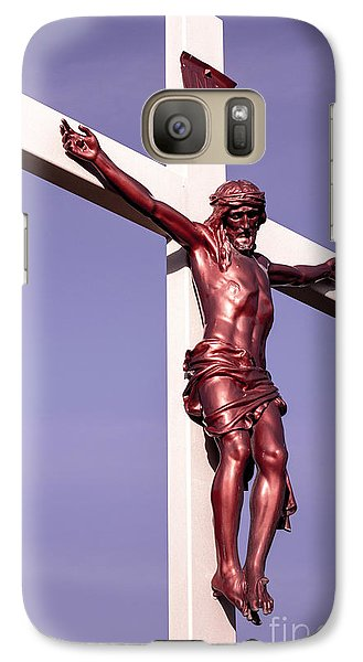 Galaxy Case featuring the photograph Jesus Crucifix Against The Sky 2 by Gary Whitton