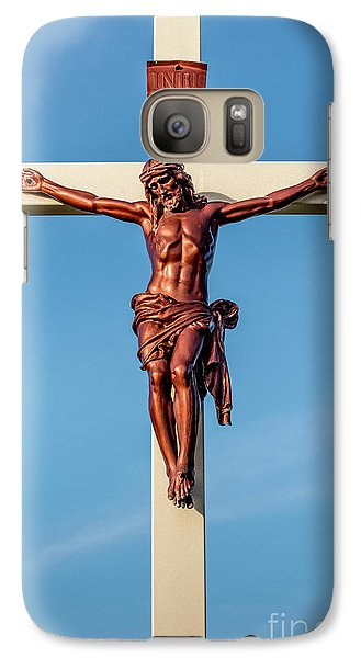 Galaxy Case featuring the photograph Jesus Crucifix Against The Sky 3 by Gary Whitton