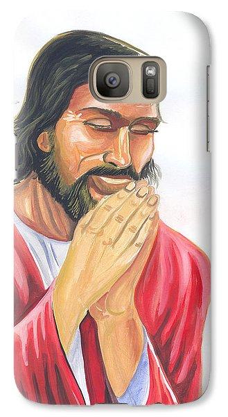 Galaxy Case featuring the painting Jesus Praying by Emmanuel Baliyanga