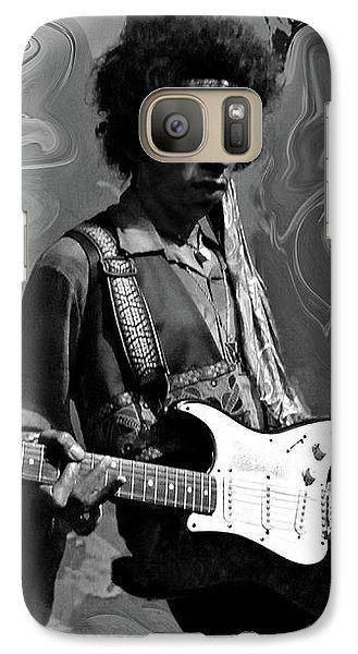 Galaxy Case featuring the photograph Jimi Hendrix Purple Haze B W by David Dehner